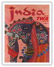 India Adorned Elephant Vintage Fly TWA Art Poster Print Giclee