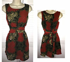 New MELA LOVES LONDON Red Black Floaty LION PRINT TEA DRESS UK Size 8 & 10 £32