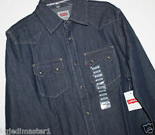 "Levi's Red Tab NWT Men's M Women's XL Dark Denim Snap Front Shirt 23"" Pit to Pit"