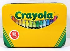 CRAYOLA CRAYON BOX TIN SMALL SIZE CARRY ALL TOTE METAL GREEN & YELLOW NEW!