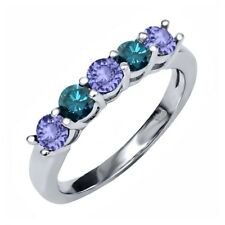 0.84 Ct Round Blue Tanzanite Blue Diamond 925 Sterling Silver Ring