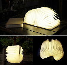 Flip Folding Book Light Foldable LED Book Lamp Wooden USB Rechargeable Booklight