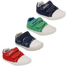 BOYS CLARKS DOODLES LITTLE CHAP RIPTAPE STRAP CASUAL SUMMER CANVAS SHOES PUMPS