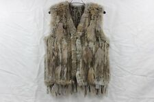 Real Rabbit Fur Vest Womens Gilet Knitted Rabbit Fur Vest Waistcoat Warm