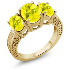 3.40 Ct Oval Canary Mystic Topaz 18K Yellow Gold Plated Silver Ring