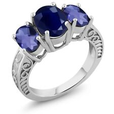3.80 Ct Oval Blue Sapphire Blue Iolite 925 Sterling Silver Ring