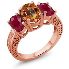 3.84 Ct Oval Ecstasy Mystic Topaz Red Ruby 18K Rose Gold Plated Silver Ring