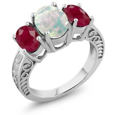 2.64 Ct Oval Cabochon White Opal Red Ruby 925 Sterling Silver Ring