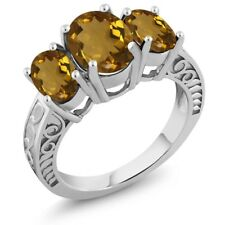 2.80 Ct Oval Whiskey Quartz 925 Sterling Silver Ring