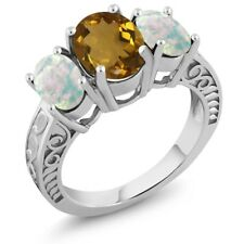 2.66 Ct Oval Whiskey Quartz and White Simulated Opal 925 Sterling Silver Ring