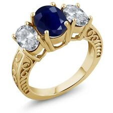 4.40 Ct Oval Blue Sapphire White Topaz 18K Yellow Gold Plated Silver Ring
