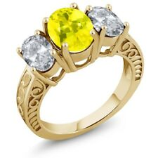 3.70 Ct Oval Canary Mystic Topaz White Topaz 18K Yellow Gold Plated Silver Ring