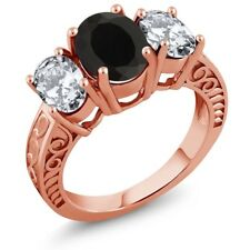 5.00 Ct Oval Black Onyx 18K Rose Gold Plated Silver Ring