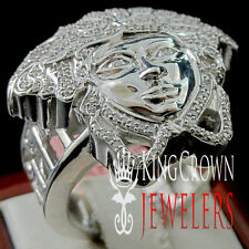 REAL 925 SILVER 14K WHITE GOLD FINISH GREEK MEDUSA HEAD MENS PINKY RING BAND