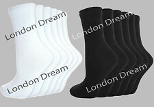 6 Pairs Mens Boys Ladies Girls Unisex Kids Cotton Ankle School Socks White Black