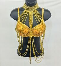 Sexy Women Gold Blinged Out Sequin Daisy Flower Bra And Tassel Top EDC Rave