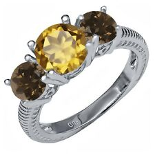 2.17 Ct Round Champagne Quartz Brown Smoky Quartz 925 Sterling Silver Ring