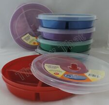 Divided 3 Compartment Microwave Plate w/Vented Lids Food Storage 2, 4, 6 or 8