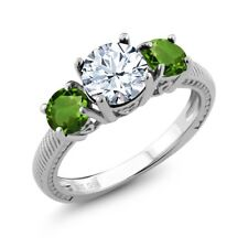 2.40 Ct Round White Topaz Green Chrome Diopside 925 Sterling Silver Ring