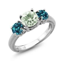2.10 Ct Round Green Amethyst London Blue Topaz 925 Sterling Silver Ring