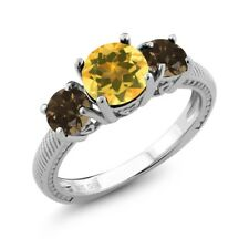 2.22 Ct Round Yellow Citrine Brown Smoky Quartz 925 Sterling Silver Ring