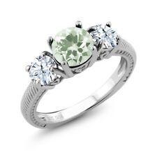 2.10 Ct Round Green Amethyst White Topaz 925 Sterling Silver Ring