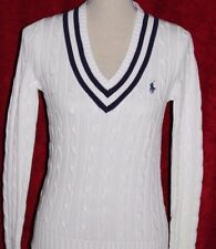 NWT RALPH LAUREN  Polo Women's Cable Knit V-Neck Sweater Jumper White  S M L XL