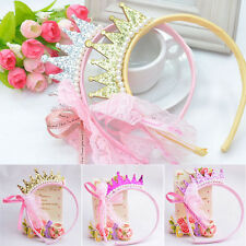 Sweet Girls Pearls Resin Diamond Lace Bow Ribbon Crown Princess Hair Accessories