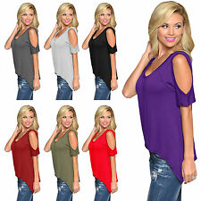 Open Cold Shoulder Cut Out Slit Off Sleeve Flowy Ruffle Vest Top Tunic Shirt