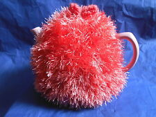 Funky fluffy tea cosy hand knitted in Wales CORAL PINK