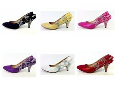 Wedding Shoes - Stunning Diamonte Bridal Shoes - Mid Heel - Sizes 3 - 8 UK