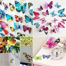 12pcs 3D Butterfly Art Decal Magnet Wall Fridge Stickers Home Room Decoration