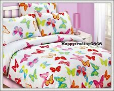 Butterfly White Pink Red Green Single Double Queen Quilt Doona Duvet Cover Set
