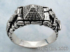 Sterling Silver ISIS & OSIRIS PYRAMID RING, Egyptian Mythology, Mysticism Occult
