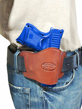 New Barsony Burgundy Leather Gun Quick Slide Holster for Glock Compact 9mm 40 45