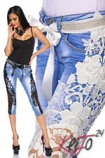 Sexy Capri Jeans Lace Capris Pants Distressed Destroyed Parts 5-Pocket-Style New