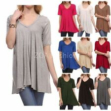 USA Women S M L Plus Size Tunic Top V Neck Short Sleeve A-Line Draped