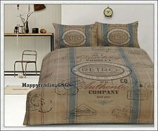 Retro Vintage Cargo Signs Natural Latte Teal  * KING QUEEN QUILT DOONA COVER SET