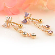 Gorgeous Rhinestone Cute Bow Dangle Gold Reverse Navel Belly Bar Button Ring 1Pc