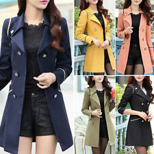 2015 New Women Ladies Fashion Double Breasted Winter Long Trench Coat Outwear