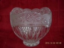 """Crystal Glass Footed Candy Dish Bowl Floral Pattern Scalloped Edge 5 1/2 """" Dia."""