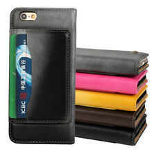 For iPhone 6 Plus Luxury Wallet Genuine Leather Flip Card Pouch Case Cover Skin