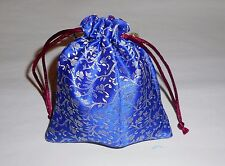 All Occasions Indian Silk Multi Use and Pattern Blue Pouch Bag