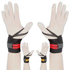 WeightLifting Wrist Wraps Support Brace Gym Straps Hand Fist Bandage Cotton Pair