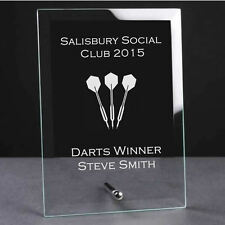 Personalised Engraved Glass Plaque Trophy Award - Darts Sports Club