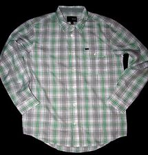 NEW MENS HURLEY ARCHIVE LONG SLEEVE BUTTON UP SHIRT CONCRETE SMALL