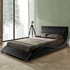 Modern Designer Curved Bed Frame Double King Size Black White Faux Leather