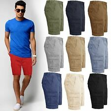 Mens Cargo Combat Shorts Cotton Summer Halfpant Chino Jeans Knee length Pants
