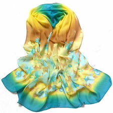 New Women Lady Chiffon Silk Flower Long Soft Neck Scarf Shawl Wrap Scarves