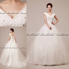 Cheap White/Ivory Cap Sleeve Ball Gown Tulle Corset Bridal Wedding Dresses Stock